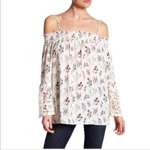 Pleione Tops - Pleione Off the Shoulder Lace Bell Sleeve Blouse